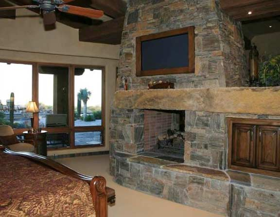 Stone Bedroom Fireplace