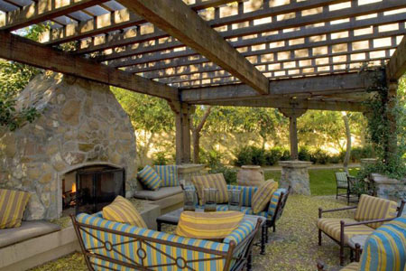 Outdoor Fireplace & Pergola