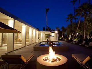 Stone Firepit by Swimming Pool