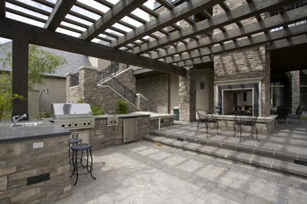 Outdoor Fireplace, Pergola, and Kitchen
